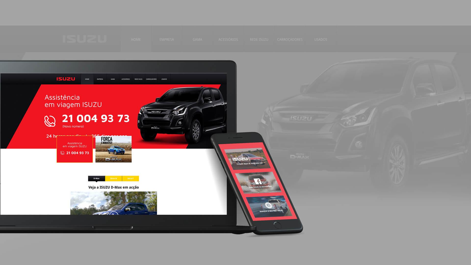 load mobile and web mockup of isuzu case study