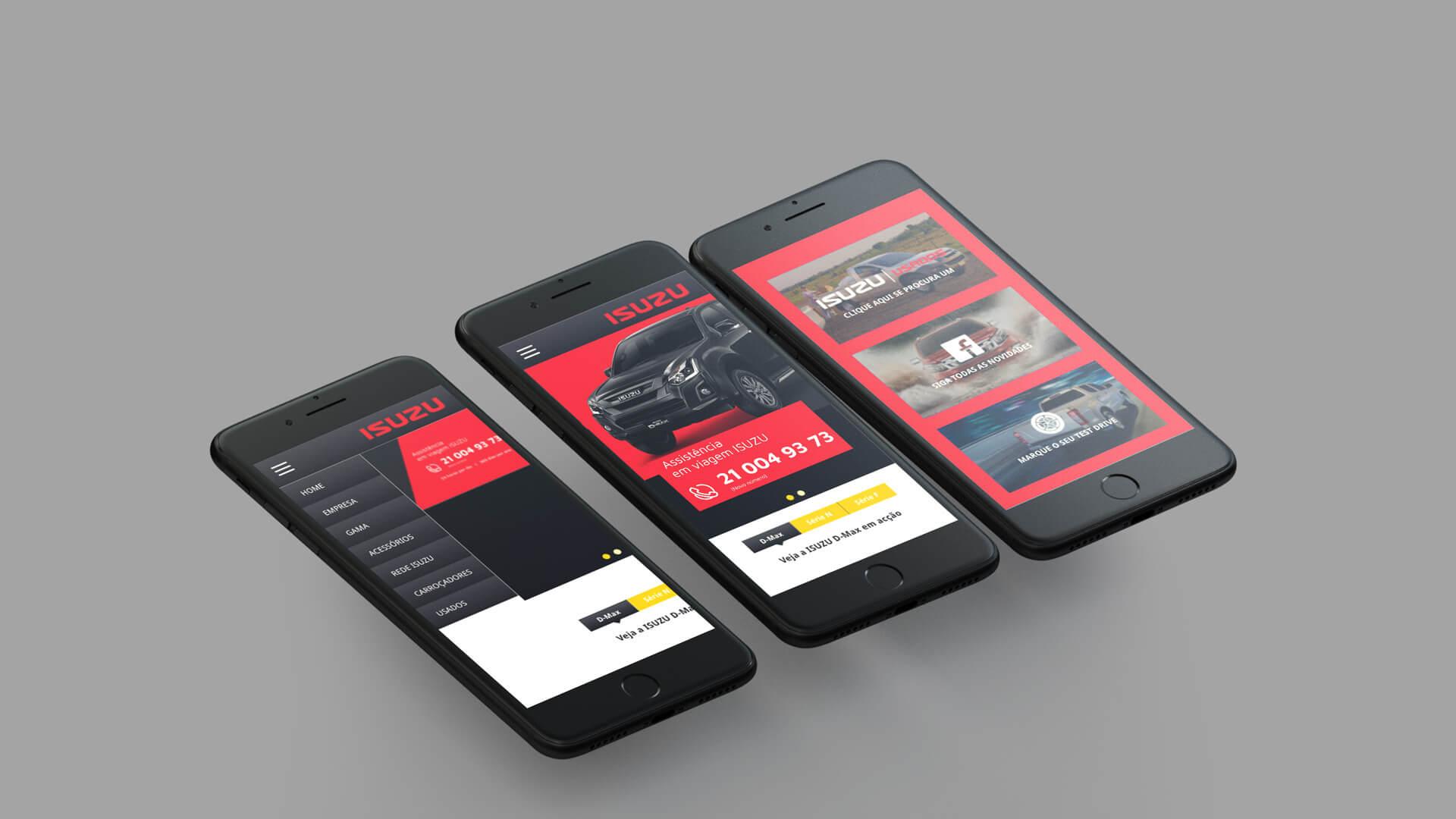 load mobile mockup of isuzu case study